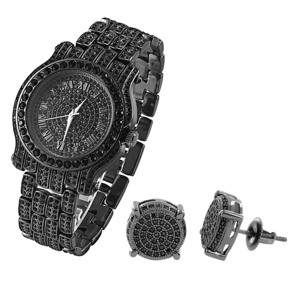 Fully Iced Out Custom Black Lab Diamonds Finish Men's Techno Pave Watch & Earrings Combo