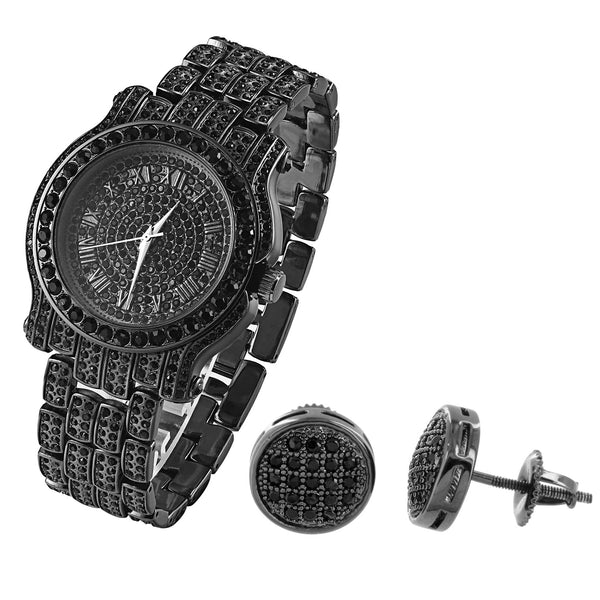 Men's New Hip Hop Iced Out Black Gold Finish Designer Techno Pave Watch & Earrings Combo