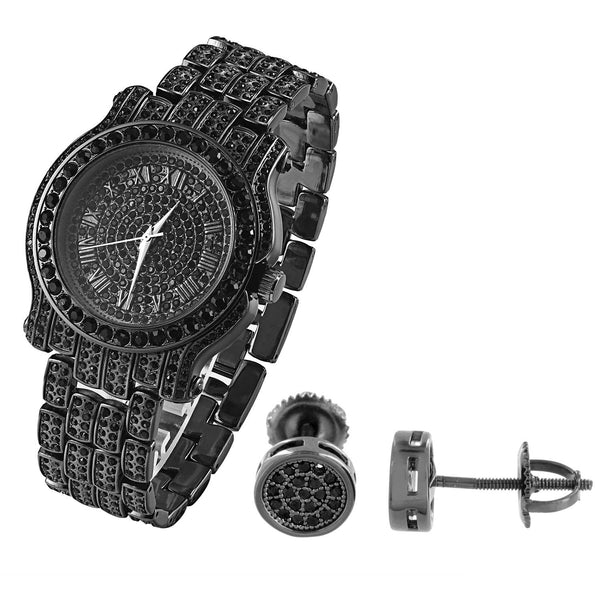 Designer Black Gold Finish lab diamonds Bling Techno Pave Watch & Earrings Combo