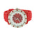 Watch Red Rubber Band Strap Techno Pave White Red Dial