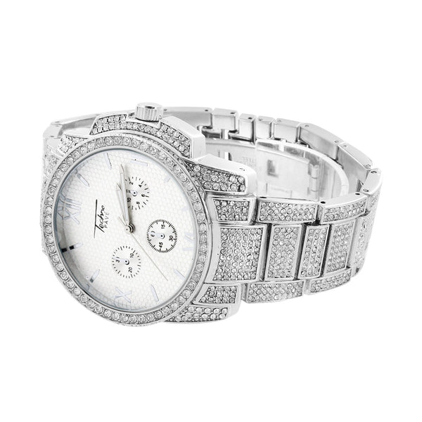 White Dial Mens Watch 3 Timezone Look Iced Out Elegant Joe Rodeo Jojino Style