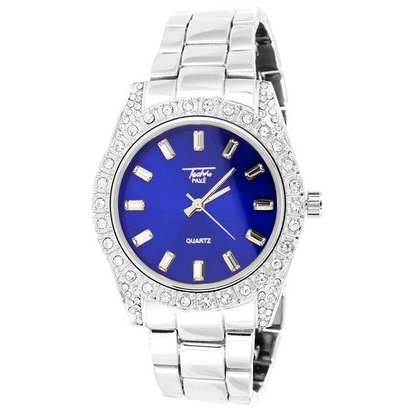 Iced Out Prong Bezel Presidential Blue Dial White 41mm Watch