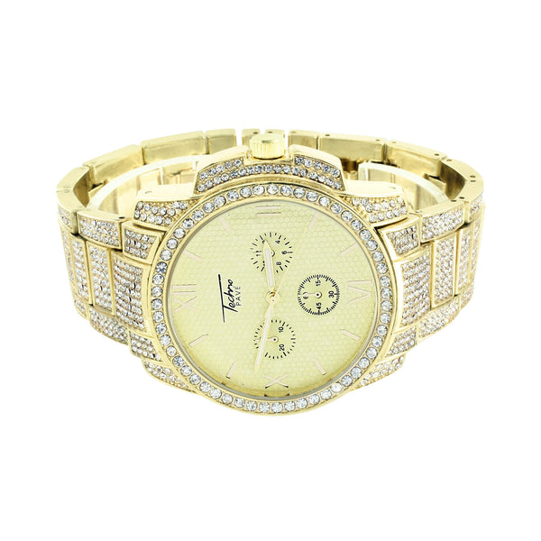 Mens Gold Finish Watch Iced Out Gold Dial 3 Timezone Look Simulated Diamonds New
