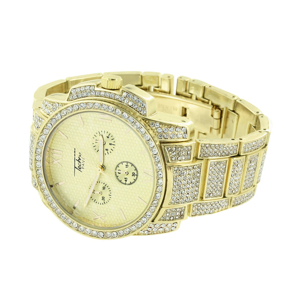 Mens Gold Finish Watch  Gold Dial 3 Timezone Look Simulated Diamonds New