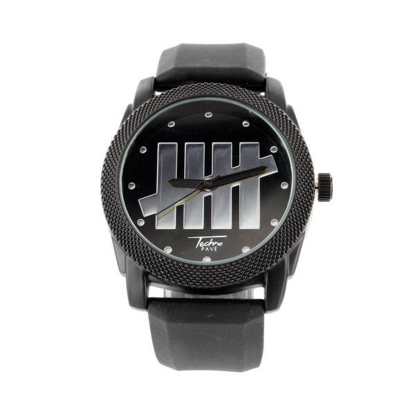 Black Gold Tone Techno Pave Black Silicone Band Watch