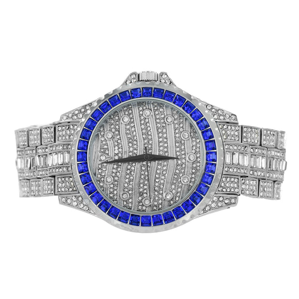 Blue Princess Cut Watch Fully Iced Out Custom Analog Jojino