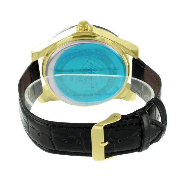 Gold Illusion Dial Watch Black Leather Band
