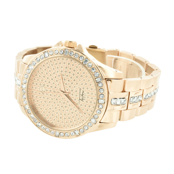 Rose Gold Finish Watch CZ Techno Pave
