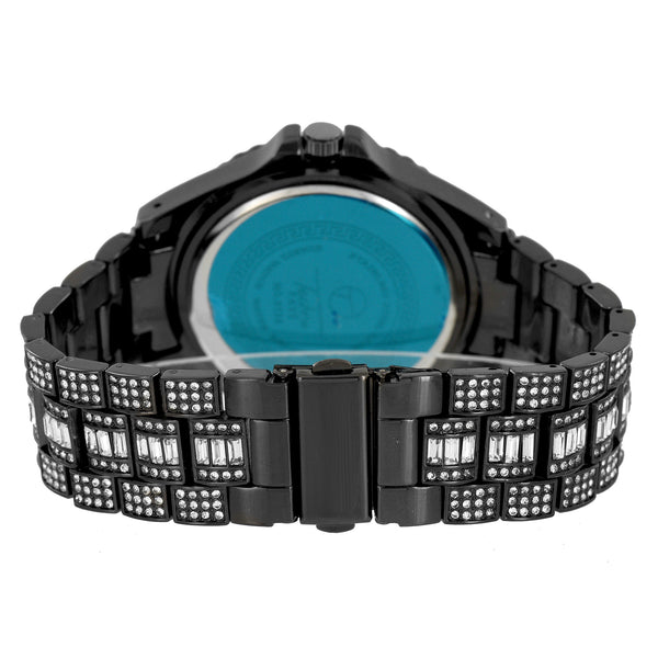 Mens Black Finish Watch Princess Round Cut Custom Jojo