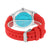 Red Rubber Strap Watch Baguette Stainless Steel Back Classy
