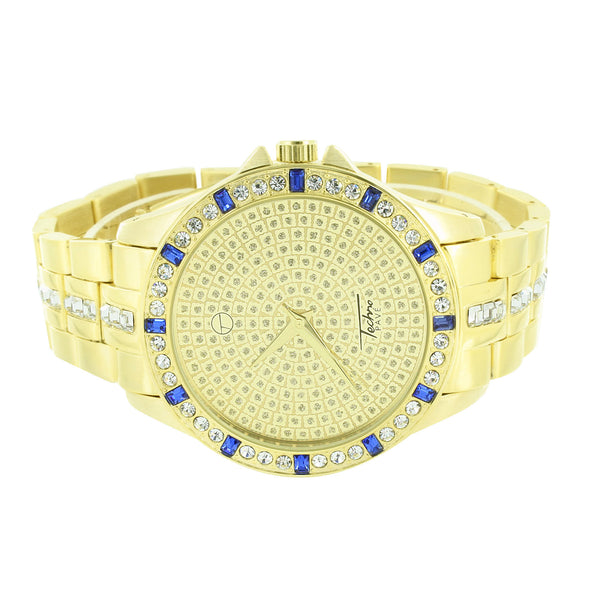 Gold Finish Mens Watch Blue Ruby Look Stones