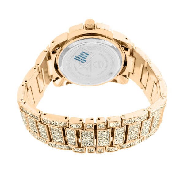 Rose Gold Finish Iced Out Watch Simulated Diamond 3 Timezone Look Joe Rodeo Jojo