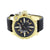 Mens Gold Finish Watch Quartz Black Leather Band