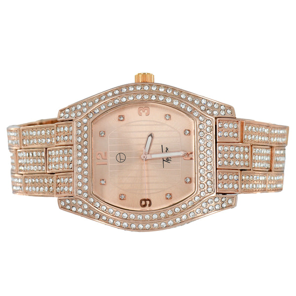 Watch Rose Gold Finish Round Cut Oval Shape Joe Rodeo