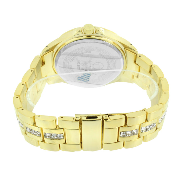 Gold Finish Mens Watch Techno Pave