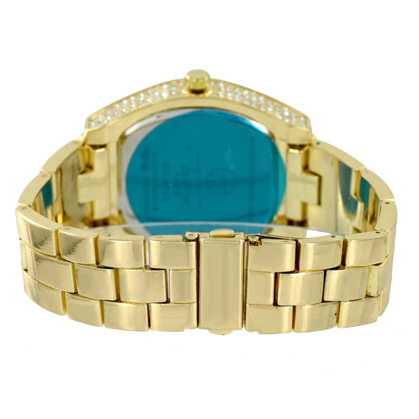 Mens Gold Dial Watch Iced Out Gold Finish Oval Face Analog