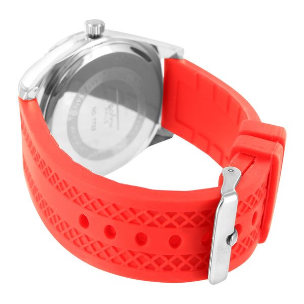 Red Silicone Band White Gold Tone Bezel Techno Pave Watch