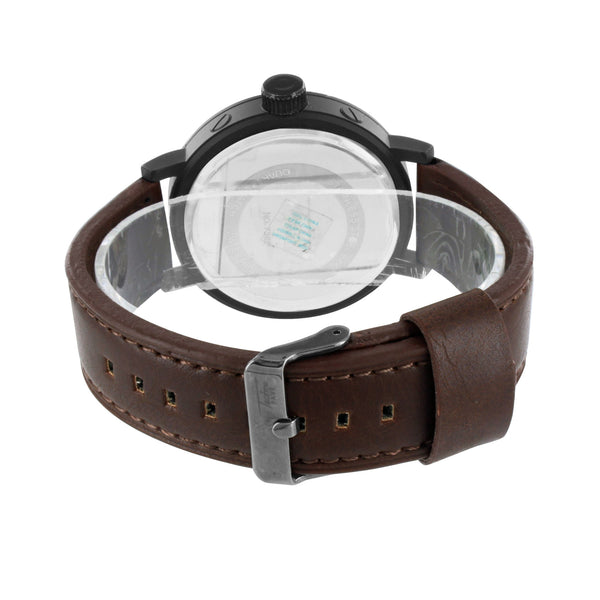 Black Finish Watch Chocolate Brown Leather Strap