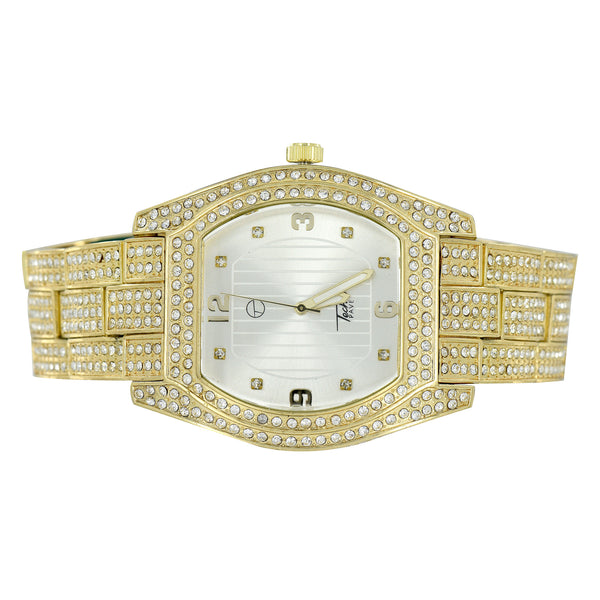 Oval Face Mens Watch Gold Finish Iced Out Pave Set 46 MM Sale