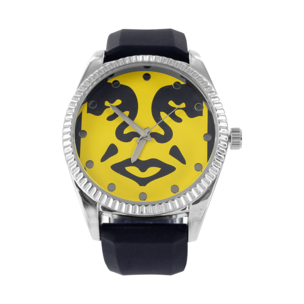 Yellow Dial Face Design White Finish Techno Pave Rubber Band Watch