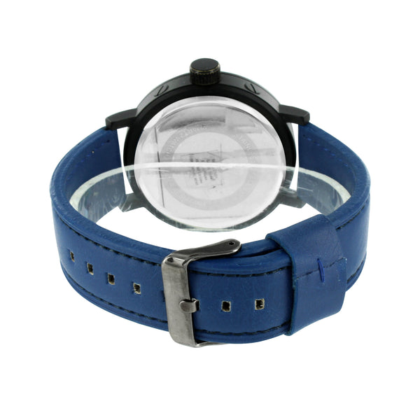 Blue Leather Band Watch Black Leather Strap Blue Dial Black PVD