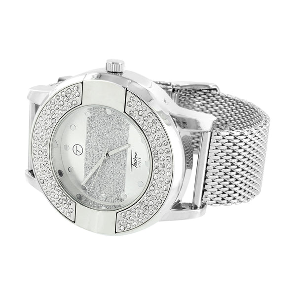 Mesh Band Bracelet Watch Techno Pave Mens