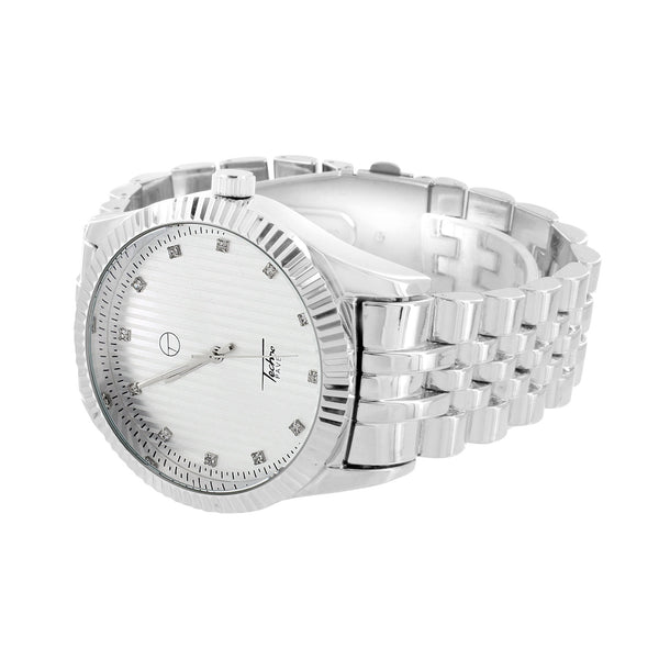 Mens Fluted Bezel Watch White Dial Jubilee Design Band Stainless Steel Back Sale