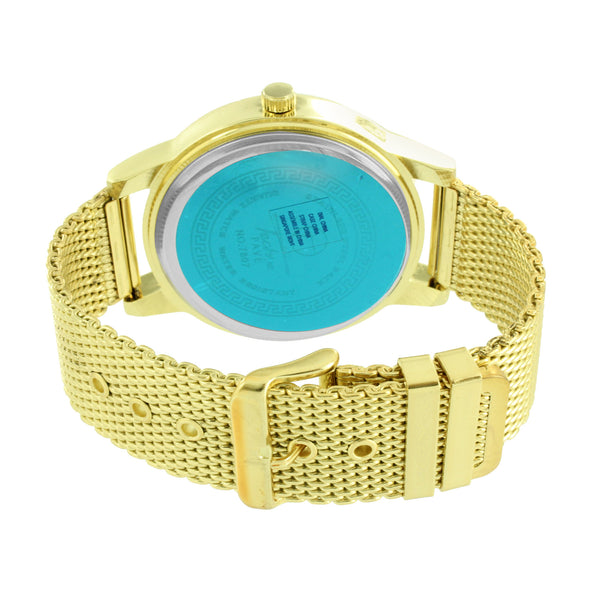 Techno Pave Watch Mens Mesh Bracelet Band