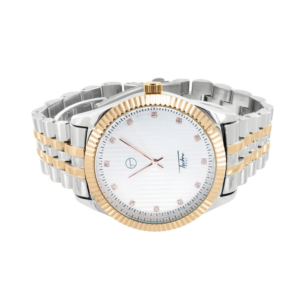 White Rose 2 Tone Watch Mens White Dial Fluted Bezel Jubilee Design Band Jojino