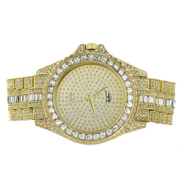 Gold Finish Watch Bling Princess Cut Rapper Wear Iced Out New
