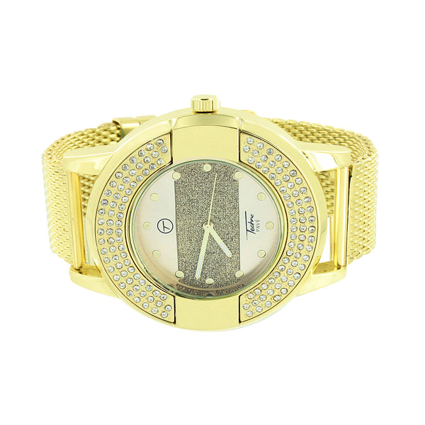 Techno Pave Mens Watch Gold Tone Dial