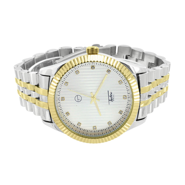 Mens 2 Tone Watch Gold White Water Resistant Jubilee Metal Band Stainless Steel