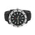 White Black Watch Techno Pave Quartz Black Rubber Band