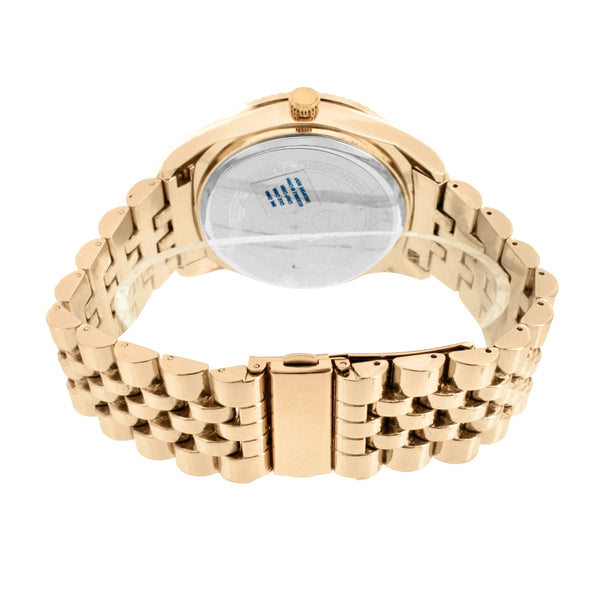 Rose Gold Finish Watch Fluted Bezel Design Jubilee Bracelet Metal Water Resist