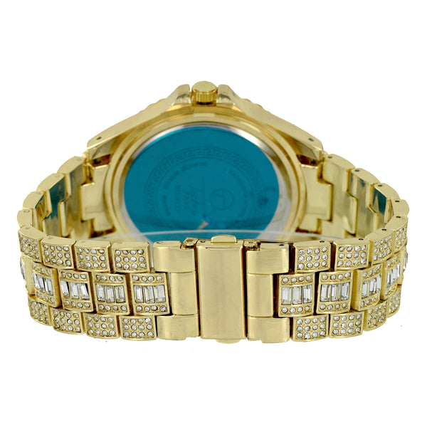 Gold Finish Watch Techno Pave  Iced Out Rapper Wear Hip Hop