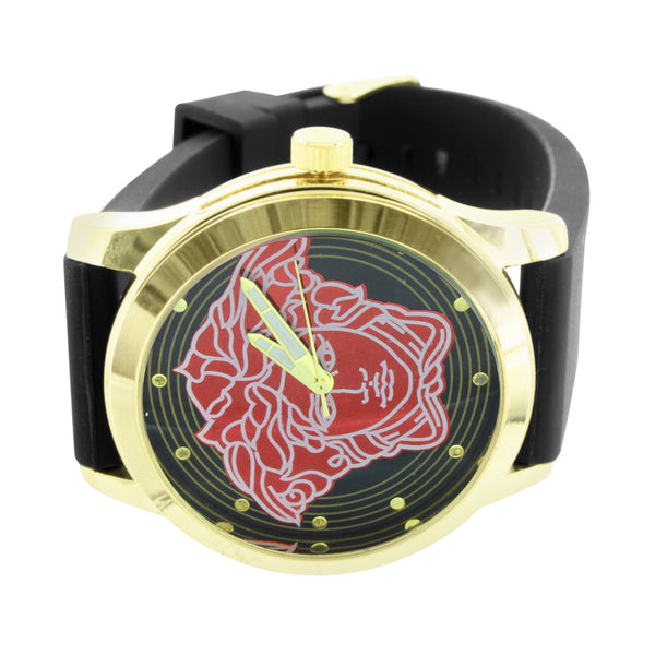 Medusa Face Dial Watch Yellow Gold Finish Bezel Black Rubber Silicone Strap