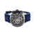 3 Timezone Look Watch Blue Rubber Silicone Strap Black White