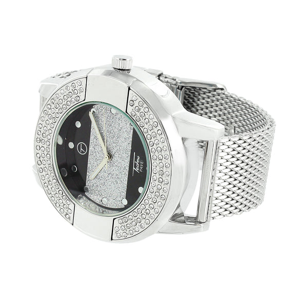 White Gold Finish Watch Mesh Band