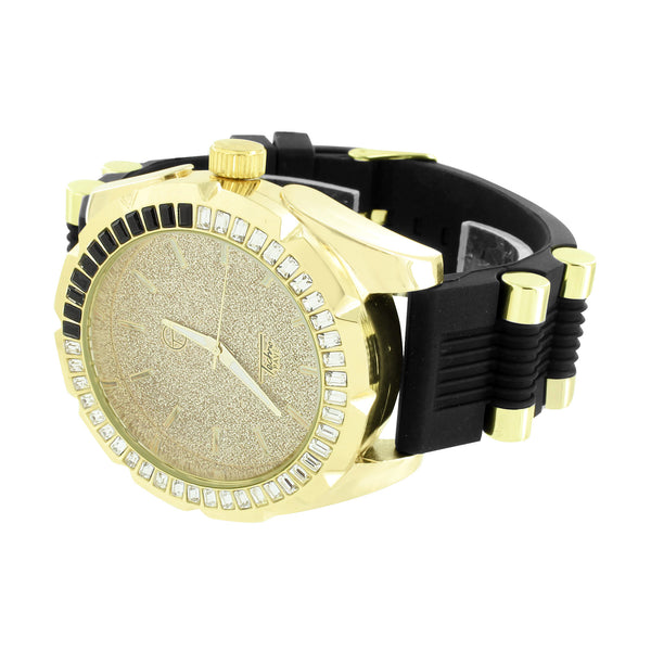Gold Finish Men Watch Black Rubber Bullet Band