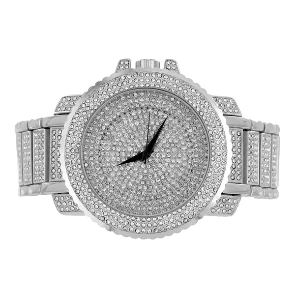 Men Hip Hop  White Techno Pave Bling Rapper Watch