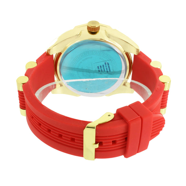 Red Rubber Band Watch Yellow Gold Finish