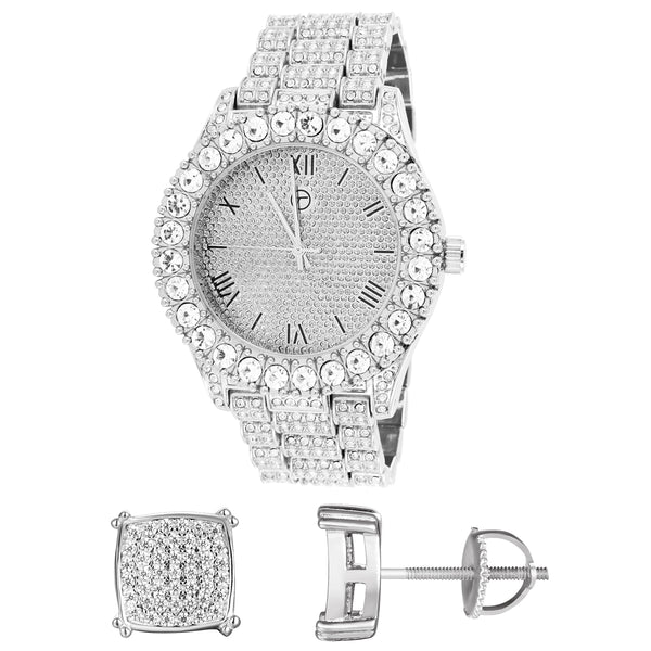Men's Roman Dial Metal Band Watch Silver Square Earrings Combo Gift