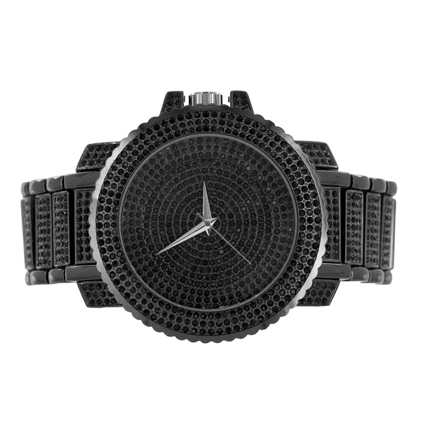 Black Fully Iced Out Watch Lab Diamond Techno Pave Bling