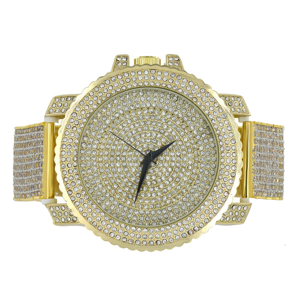 Mens Watch Yellow Gold Finish With Clear Lab Diamond