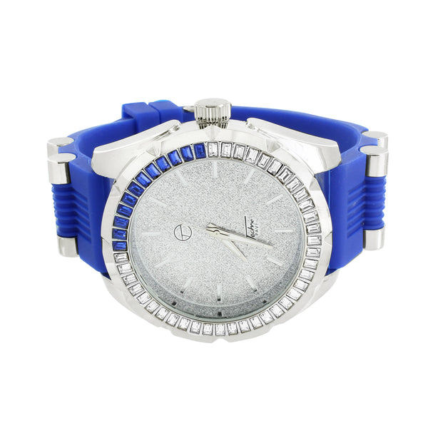 Rubber Bullet Band Watch Blue Techno Pave Rodeo Style
