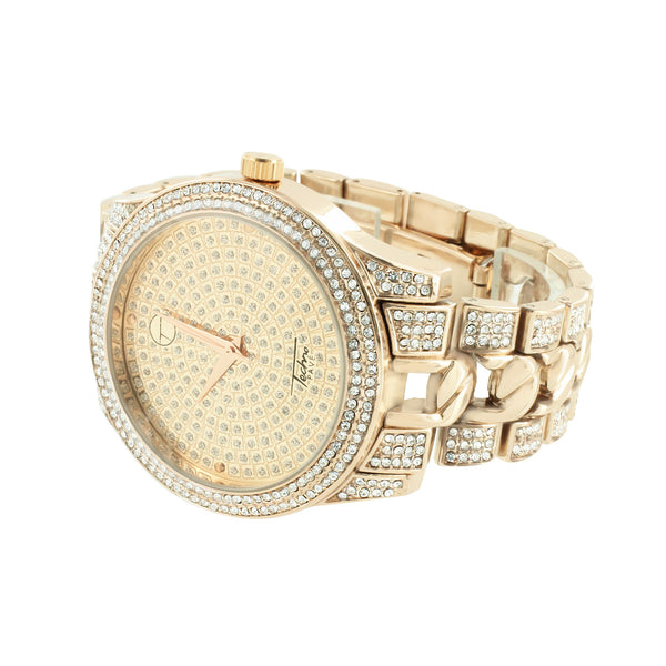 Rose Gold Finish Watch CZ Round Face Analog
