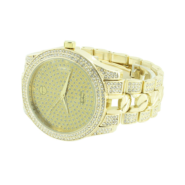 Iced Out Watch Round Face Analog Gold Finish Techno Pave