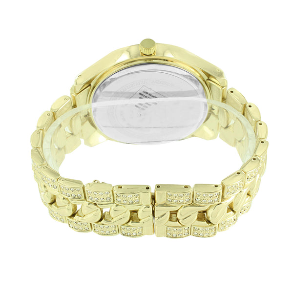 Iced Out Silver Dial Watch Analog Gold Finish Techno Pave