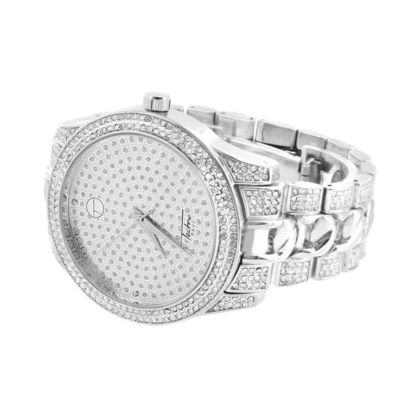 White Watch Round Classy Techno Pave Lab Simulated Stones