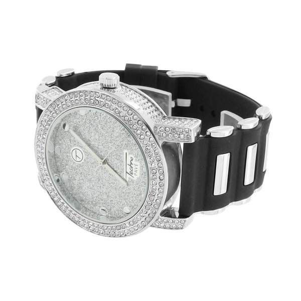 White Illusion Dial Watch Techno Pave Silicone Bullet Band